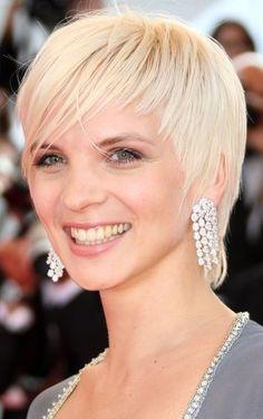 platinum blonde, short hair cut