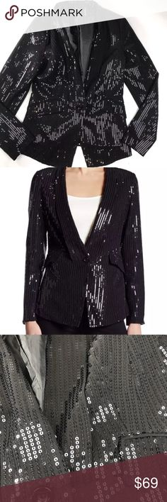 Nordstrom Black Sequin Jacket Blazer NYE Holiday S Dolce Cabo Nordstrom Black Sequin Jacket Blazer NYE Holiday S Sparkle Formal Tux  Bust 17  Waist 15  Length 24.5  Measurements are APPROX! It has been measured by me and these are the best representation.  No rips tears or stains that I noticed during careful observation Nordstrom Jackets & Coats Blazers