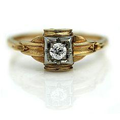 Vintage Engagement Ring Vintage Diamond Ring by ArtDecoDiamonds