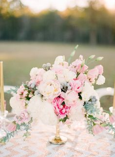 soft pink and gold wedding centerpiece