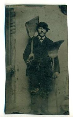 c1870-UNCOMMON-OCCUPATIONAL-MAN-in-SUIT-w-STREET-SHOVEL-amp-WORN-OUT-BROOM