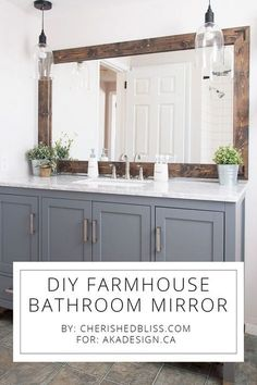 DIY Farmhouse Bathroom Mirror Tutorial! #Farmhouse #Bathroom #Mirror #Vanity #FarmhouseBathroom
