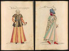 Hungary Kostüme der Männer und Frauen in Augsburg und Nürnberg, Deutschland, Europa, Orient und Afrika - BSB Cod.icon. 341' at Bayerischen Staatsbibliothek contains around three hundred hand-painted national costumes produced in the 16th century.
