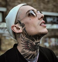Hot dude ( with sunglasses, beanie and face and throat tattoos. Face Tattoos, Boy Tattoos, Badass Tattoos, Sleeve Tattoos, Neck Tattoo For Guys, Tattoos For Guys, Throat Tattoo, Chest Piece Tattoos, Best Tattoos For Women