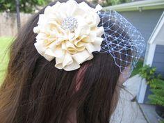 Ivory Wedding Hair Flower with Rhinestone Center - can add veil to order. $24.00, via Etsy.
