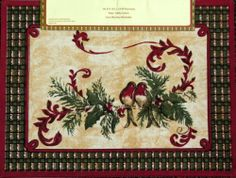 Kate McRostie Red Green Birds Placemats Set of 4 Holiday Christmas Cloth Kate…