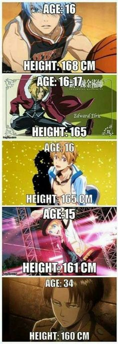 Kuroko no Basuke, FMA(B), Free!, Uta no Prince Sama, and SNK - It's hilarious that Kuroko is the taller one. really xD Anime Yugioh, Manga Anime, Anime Body, Anime Pokemon, Me Anime, I Love Anime, Anime Stuff, Anime Meme, Attack On Titan