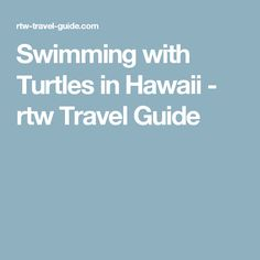 Swimming with Turtles in Hawaii - rtw Travel Guide