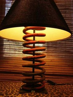 Lamp made out of spring from tractor