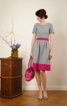 """Kleid """"Lotta"""" in grau-meliert und pink von Jekyll und Kleid auf DaWanda.com"""