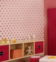 pink on pink polka dot wall