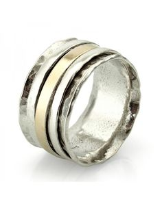 925 Silver & 14Kt Gold Spinning Ring