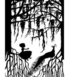 Charlotte Gastaut - black and white silhouette of girl and peacock and cypress trees