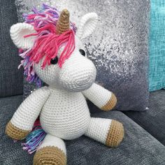 Crochet Toy Patterns Jazzy The Unicorn Amigurumi Pattern - Meet your new BFF, Jazzy. She's as magical as she is cuddly, and her wild colorful mane gives her a ton of personality! Crochet Unicorn Pattern Free, Crochet Amigurumi Free Patterns, Crochet Stitches Patterns, Crochet Dolls, Cute Crochet, Crochet Crafts, Crochet Baby, Crochet Projects, Baphomet