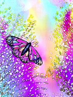 Alcohol ink painting. Butterfly Garden III by KCsCornerGallery, $28.00