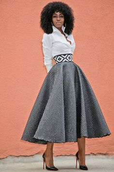 Button Down + Textured Tea Length Skirt
