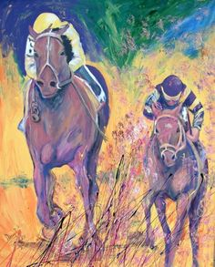 awesome HORSE RACING Kentucky Derby Original Art PAINTING DAN BYL Contemporary 4x5 ft