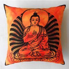Buddha Meditation Orange Cushion Cover