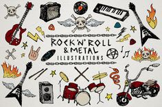 Check out Rock 'n' Roll & Metal Illustrations by Lemonade Pixel on Creative Market