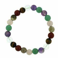 Genuine Aventurine, Amethyst Crystal, Tiger Eye, Carnelian, Smokey Quartz, and Rose Quartz Beaded Stretch Bracelet SilverSpeck.com. $6.99
