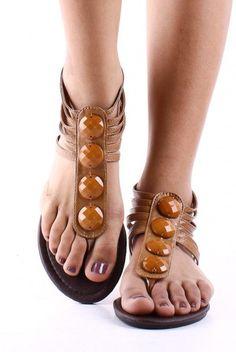 Tan T-Strap sandals