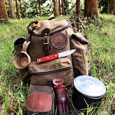 Pack, knife, kuksa, and cookpot