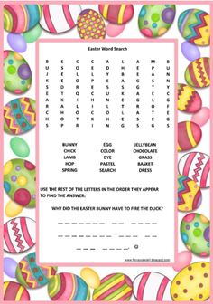 Easter Word Search - Free Printable by Florassippi Girl