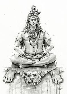 Lord Shiva Painting, Shiva Art, Meditation Shiva Portrait Duvet Cover by olechka Arte Shiva, Shiva Art, Hindu Art, Ganesha Tattoo Lotus, Lotus Tattoo, Lord Shiva Sketch, Shiva Tattoo Design, Shiva Lord Wallpapers, Lord Shiva Family