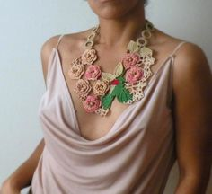 Crocheted lace statement necklace, old love
