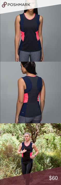 Lululemon Trail Bound Tank Lululemon Trail bound tank. Super lightweight sweatwicking material with breathable cool mesh & snag free side panels. Deep navy / black / bright orange lululemon athletica Tops Tank Tops