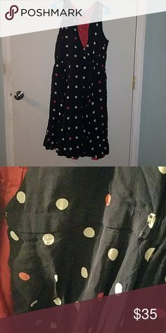 Navy polka dot fit and flare dress Navy dress with cream amd coral polka dots. Fit and flare styke v neck. Waist has 2 doubke hook metal closure and elastic to pull it in and give you an hour glass shape.  This dress has tons of movement and these photos give it no justice! maple Dresses Midi