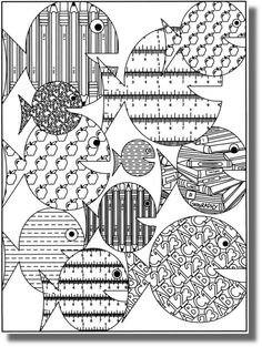 Free coloring pages, crafts, drawings and photographs. Coloring Book Pages, Printable Coloring Pages, Coloring Sheets, Doodles Zentangles, Fish Art, Free Coloring, Doodle Art, Art For Kids, Applique