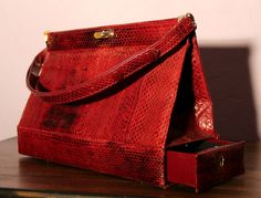 Vintage Genuine Snakeskin Burgundy Red Case Bag With Secret Compartment in Clothes, Shoes & Accessories, Clothes, Shoes & Accessories   lederet