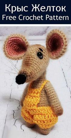 Crochet Amigurumi Doll Free Patterns Haken Ideas For 2019 Crochet Animal Amigurumi, Crochet Mouse, Crochet Amigurumi Free Patterns, Crochet Animal Patterns, Stuffed Animal Patterns, Crochet Dolls, Knitting Patterns, Amigurumi Doll, Easter Crochet