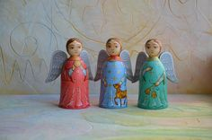 Christmas Angels // Hand Painted Figurines // Wooden Miniature