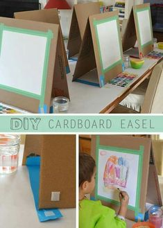 DIY Cardboard Easel There are many ways to make a quick easel. I might have learned quite a few tricks if I had actually researched before I made this project. But I'm much mo More<br> A quick and easy way to make a table easel out of cardboard. Kids Crafts, Projects For Kids, Art Projects, Car Crafts, Weaving Projects, School Projects, Kunst Party, Arte Elemental, Carton Diy