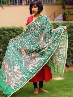 Green Handpainted Kalamkari Chanderi Dupatta
