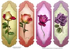4 Rainbow Roses Toppers Bookmarks on Craftsuprint designed by Anne Lever - This sheet contains four design which can be used as bookmarks or as card toppers. They all feature gorgeous roses. - Now available for download!