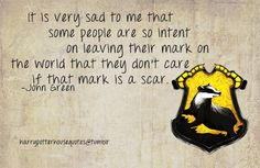 It is very sad to me that some people are so intent on leaving their mark on the world that they don't care if that mark is a scar.   -John Green