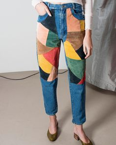 Super rare suede color-blocked high-waste jeans from the 1970s.