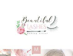 Eye Lash logo,Floral Logo ,Romantic Logo, Watercolor Logo, Makeup Logo, Photography Logo, Boutique Logo ,Shabby Chic Logo, Watermark