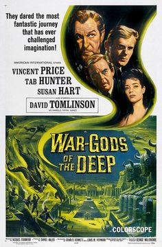 "City in the Sea ""The City Under the Sea"" (original title) Stars: Vincent Price, Tab Hunter, David Tomlinson, Susan Hart, Henry Oscar ~ Director: Jacques Tourneur (aka ""War-Gods of the Deep"") Horror Movie Posters, Horror Movie Trailers, Old Movie Posters, Movie Poster Art, Horror Movies, Fantasy Movies, Sci Fi Movies, Old Movies, Vintage Movies"