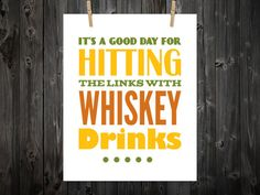 Whiskey Drinks Whiskey Print Golf Golf Art by BentonParkPrints, $12.00