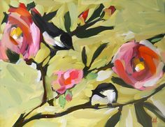 chickadees and camellias original painting by moulton 11 x 14 inches. $100.00, via Etsy.