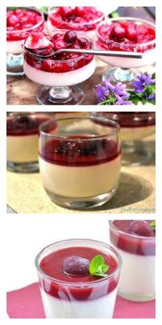 Потрясающая панна котта с вишней, это очень вкусно - lucheedlavas.ru Sorbet, Mousse, Cold Desserts, Pudding, What To Cook, Jello, Tiramisu, Panna Cotta, Food And Drink