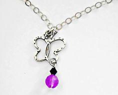 Girls Jewelry  Flying Butterfly Necklace  by splendorhoney on Etsy, $15.10