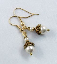 Ornate Swarovski Cream Pearl Earrings by by RoseCottageVintage, $19.99