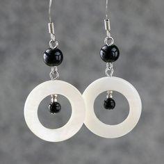 Shell black and white Hoop Earrings handmade ani by AnniDesignsllc, $12.95