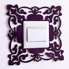 Paper Cut Square Lace Purple Light Switch Stickers – USD $ 14.99