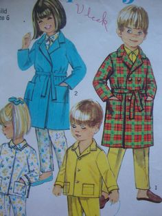 cute vintage 1967 simplicity CHILDS robe pajamas sewing pattern SIZE 6 christmas morning sleepwear UNISEX traditional= Going to have these made this year!